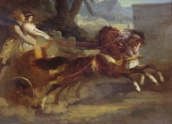 Ancient Chariot (after a lithograph by Carle Vernet)   ThEodore GEricault   Oil Painting