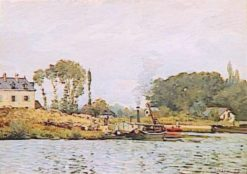 Boats at the Lock at Bougival | Alfred Sisley | Oil Painting
