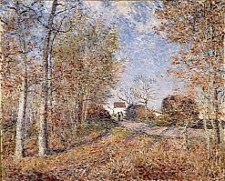 Un coin de bois aux Sablons(also known as La route a l'orée du bois) | Alfred Sisley | Oil Painting