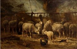 Large Sheep Barn | Charles Emile Jacque | Oil Painting