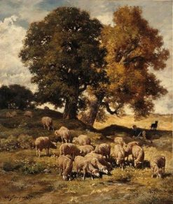 Sheep in the Pastures | Charles Emile Jacque | Oil Painting