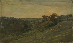 Une vallée au soleil couchant (Valley with Setting Sun) | Charles Francois Daubigny | Oil Painting