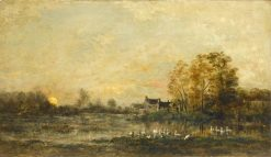 Sunset in the Marais | Charles Francois Daubigny | Oil Painting