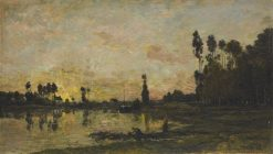 Soleil couchant sur l'Oise (Sunset on the Oise) | Charles Francois Daubigny | Oil Painting