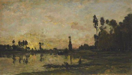 Soleil couchant sur l'Oise (Sunset on the Oise) | Charles Francois Daubigny | Oil Painting