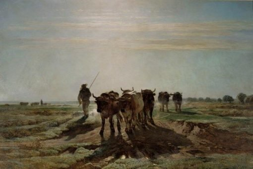 Cattle Ploughing in the Early Morning | Constant Troyon | Oil Painting