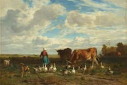 Le paturage a la gardeuse d'oies (Cows and Geese in the Pastures) | Constant Troyon | Oil Painting