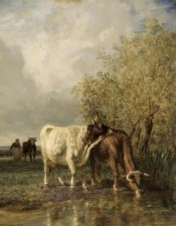 Vaches buvant a une mare (Cows Drinking at a Pool) | Constant Troyon | Oil Painting