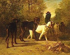 Gamekeeper Leading His Dogs into the Forest | Constant Troyon | Oil Painting