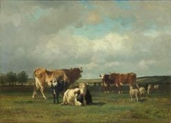 Pastures under a Cloudy Sky | Constant Troyon | Oil Painting
