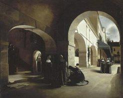 L'Ave Maria: Interieur du convent d'Aramont | Francois Bonvin | Oil Painting