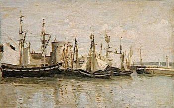 La Rochelle: Entree du port d'echouage (Entrance to the Port of La Rochelle) | Jean Baptiste Camille Corot | Oil Painting