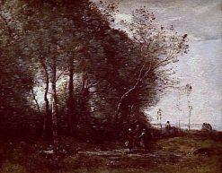 Souvenir d' Arleux: Danse des bergeres | Jean Baptiste Camille Corot | Oil Painting