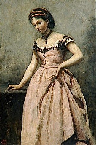 Young Girl in a Pink Dress | Jean Baptiste Camille Corot | Oil Painting