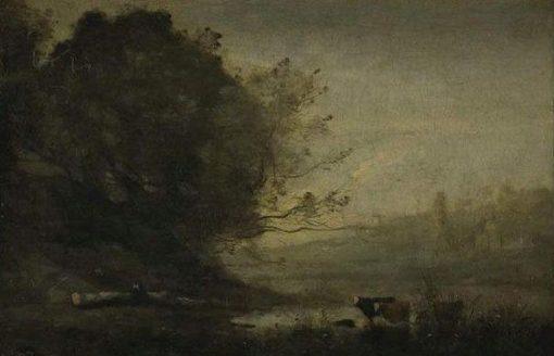 Herdsmen beside a Pool   Jean Baptiste Camille Corot   Oil Painting