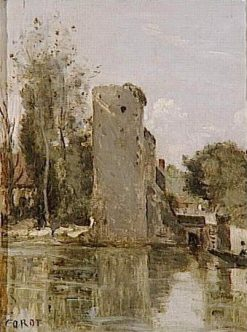 Waterside Tower | Jean Baptiste Camille Corot | Oil Painting