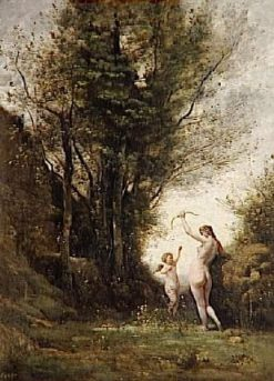 A Nymph Playing with Love | Jean Baptiste Camille Corot | Oil Painting