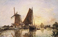 Boats near a Windmill in Holland | Johan Barthold Jongkind | Oil Painting