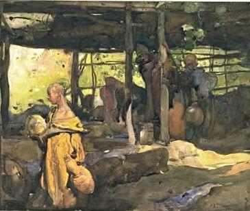 Scene in Morocco   Sir Frank William Brangwyn   Oil Painting