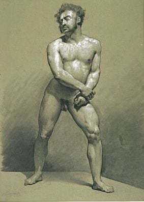 Male Nude Standing Grasping his Fists | Achille Etna Michallon | Oil Painting