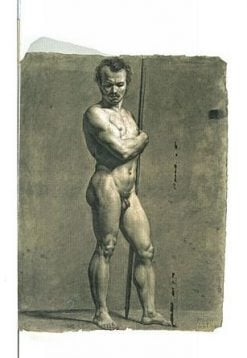 Male Nude Standing with Baton | Achille Etna Michallon | Oil Painting