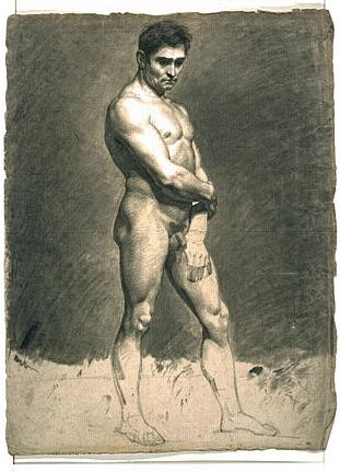 Male Nude Standing | Achille Etna Michallon | Oil Painting