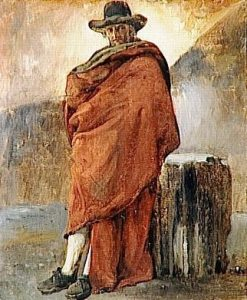 Man in a Red Cloak(also known as Inhabitant of Frascati) | Achille Etna Michallon | Oil Painting