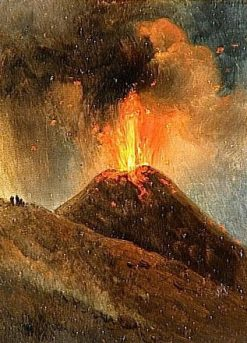 Nightime Eruption of Vesuvius | Achille Etna Michallon | Oil Painting