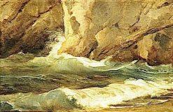 Waves beside Rocks   Achille Etna Michallon   Oil Painting