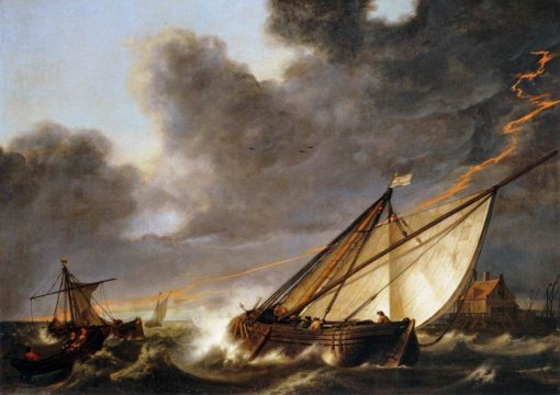 Ships Tossed in a Gale   Aelbert Cuyp   Oil Painting