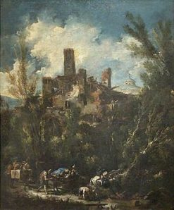 Landscape with Castle(also known as Le Muletier) | Alessandro Magnasco | Oil Painting