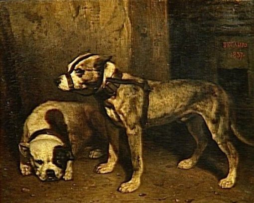 Bulldog and Scottish Terrier | Alexandre Gabriel Decamps | Oil Painting