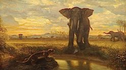 Tiger and Elephant at the Watering Hole(also known as The Indian Desert) | Alexandre Gabriel Decamps | Oil Painting
