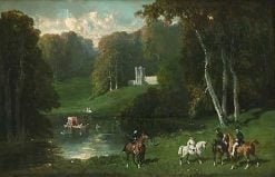 Cavaliers and Amazons at the Lakeside | Alfred de Dreux | Oil Painting