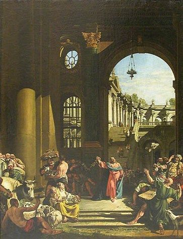 Christ Driving the Traders from the Temple | Bernardo Bellotto | Oil Painting