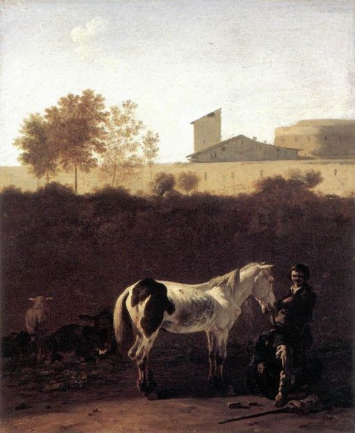 Italian Landscape with Herdsmen and a Piebald Horse | Carel Dujardin | Oil Painting