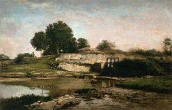 The Sluice-Gate at Optevoz in Isere | Charles Francois Daubigny | Oil Painting