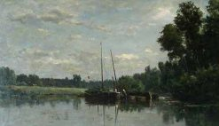 Les péniches (The Canal-boats) | Charles Francois Daubigny | Oil Painting