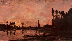 Sunset on the Oise | Charles Francois Daubigny | Oil Painting