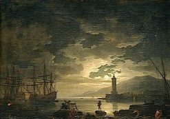Marine: Clair de lune (Marine Landscape by Moonlight) | Claude Joseph Vernet | Oil Painting
