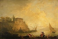 Seascape at Sunset: Fishermen Pushing a Boat | Claude Joseph Vernet | Oil Painting