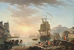 Marine; Soleil couchant (Marine Sunset) | Claude Joseph Vernet | Oil Painting
