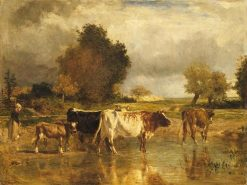 Vaches et veau buvant a une mare (Cows and Calf at a Pool) | Constant Troyon | Oil Painting