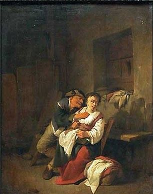 An Elderly Man Caressing a Young Woman in a Rustic Interior | Cornelis Pietersz Bega | Oil Painting