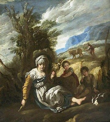 Eve Spinning and Adam Ploughing(also known as Country Life)   Domenico Fetti   Oil Painting