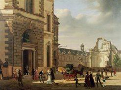 View of the Principal Entrance to the Musée Royal(also known as Entrance to the Museum and the Ruins of Saint-Louis-du-Louvre)   Etienne Bouhot   Oil Painting