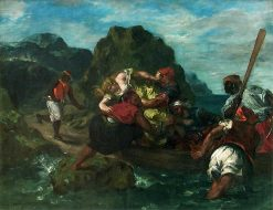 Pirates africains enlevant une jeune femme (African Pirates Abducting a Young Woman)   Eugene Delacroix   Oil Painting