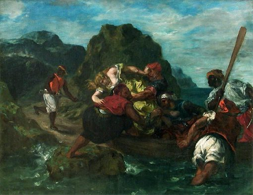 Pirates africains enlevant une jeune femme (African Pirates Abducting a Young Woman) | Eugene Delacroix | Oil Painting