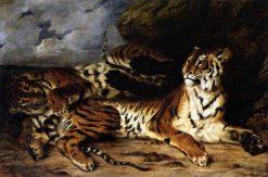 tude de deux tigres(also known as Jeune tigre jouant avec sa mere) | Eugene Delacroix | Oil Painting