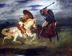 Combat de chevaliers dans la campagne (Combat of Cavaliers)   Eugene Delacroix   Oil Painting